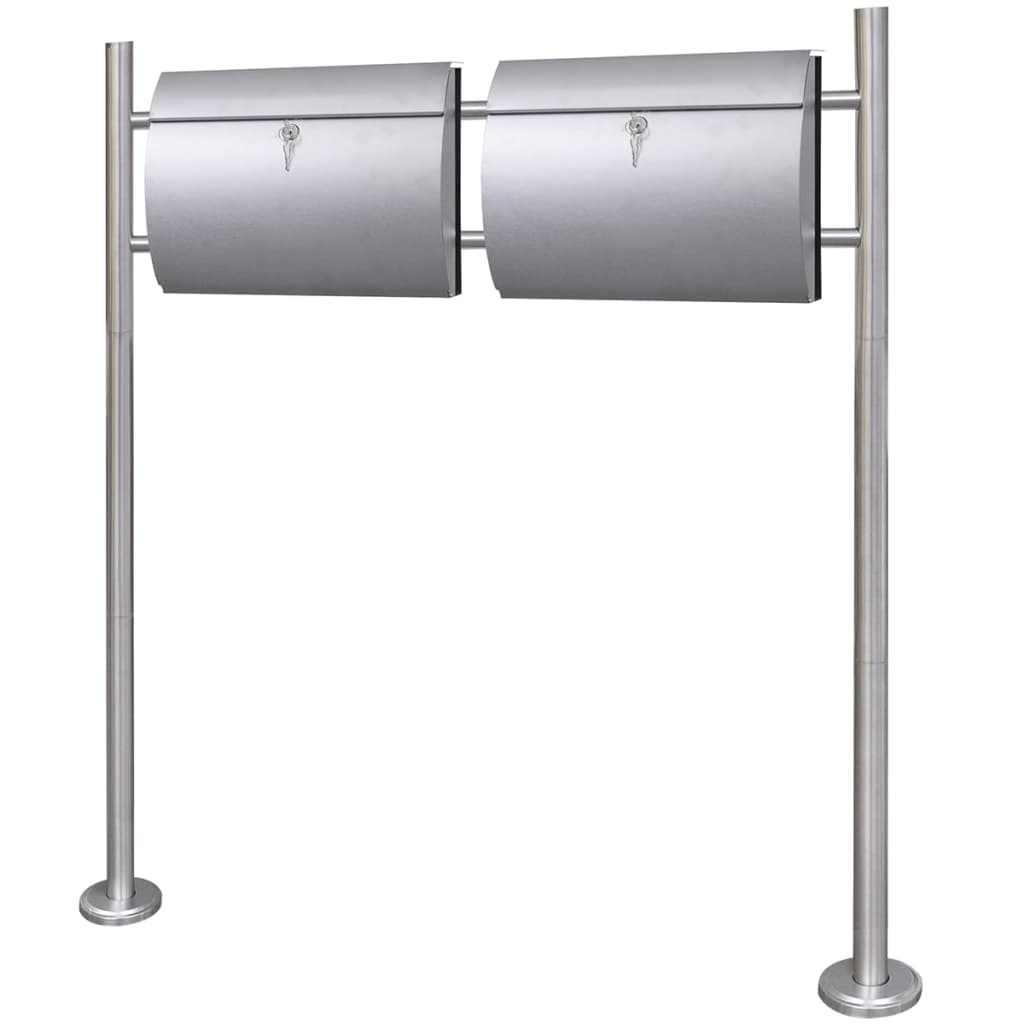 Double Mailbox on Stand Stainless Steel 1