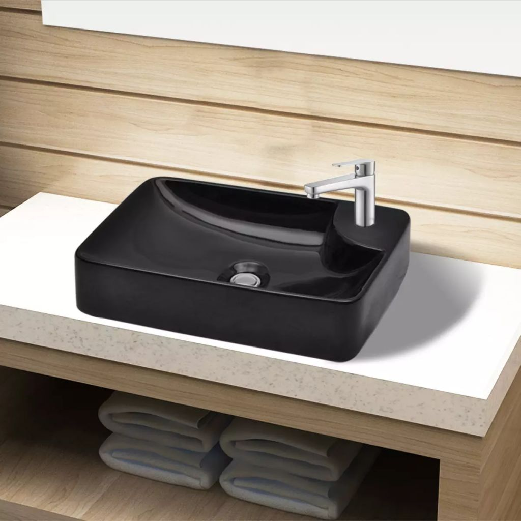 Ceramic Bathroom Sink Basin with Faucet Hole Black 1