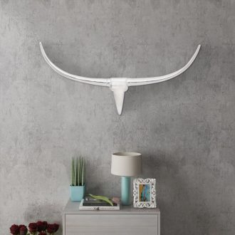 Wall Mounted Aluminium Bull's Head Decoration Silver 96 cm 1