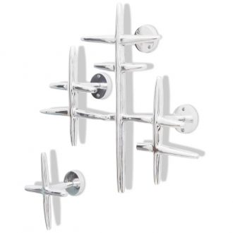 2 Wall Mounted Clothes Hooks Set Coat Rack Hat Hanger Aluminium Silver 1