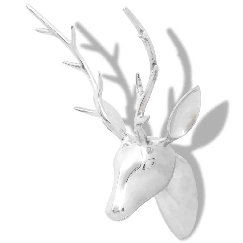 Wall Mounted Aluminium Deer's Head Decoration Silver 62 cm 2