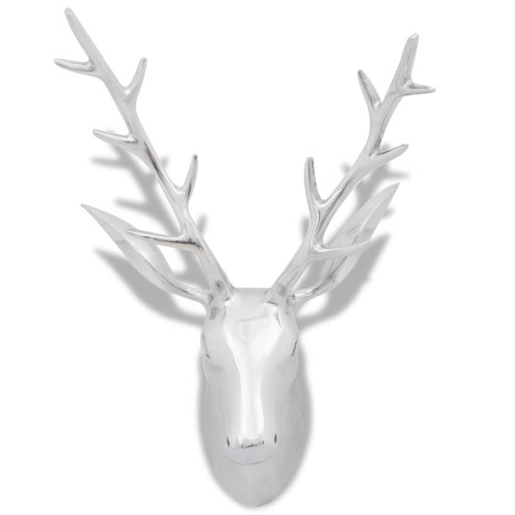 Wall Mounted Aluminium Deer's Head Decoration Silver 62 cm 3