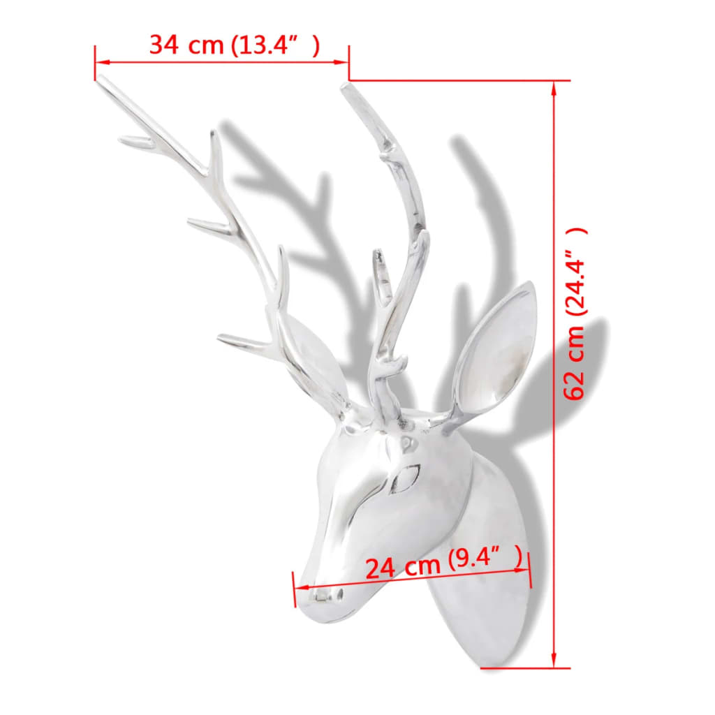 Wall Mounted Aluminium Deer's Head Decoration Silver 62 cm 5