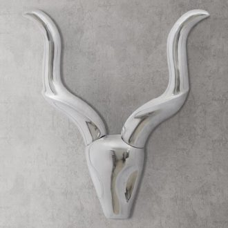 Wall Mounted Aluminium Gazelle's Head Decoration Silver 50 cm 1