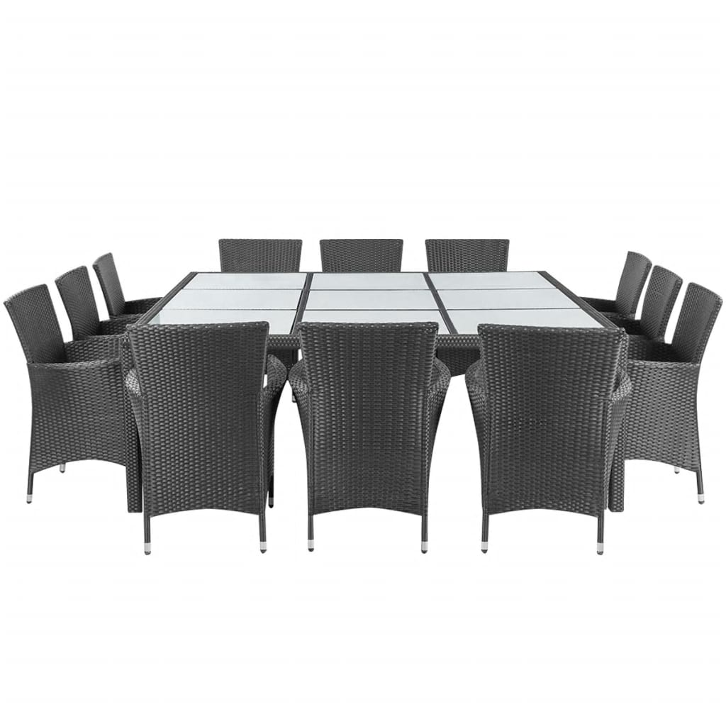 13 Piece Outdoor Dining Set with Cushions Poly Rattan Black 2