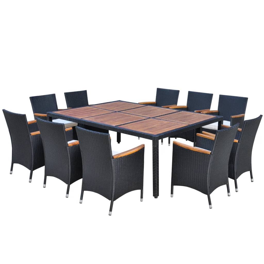 11 Piece Outdoor Dining Set with Cushions Poly Rattan Black 2