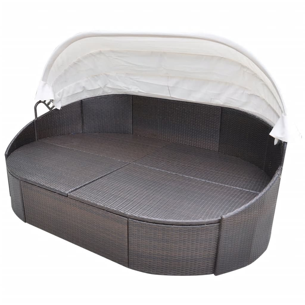 Outdoor Lounge Bed with Canopy Poly Rattan Brown 3
