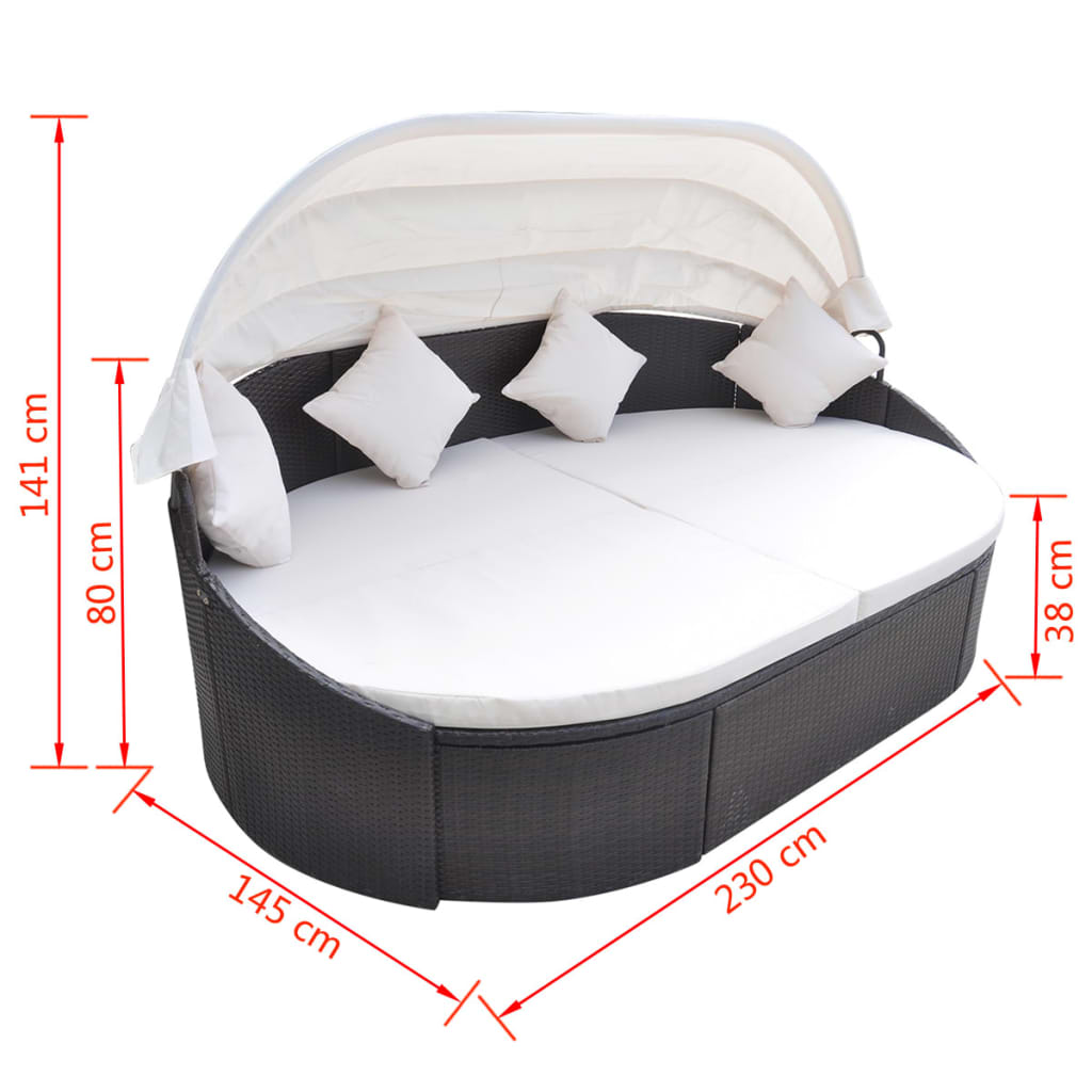Outdoor Lounge Bed with Canopy Poly Rattan Brown 5