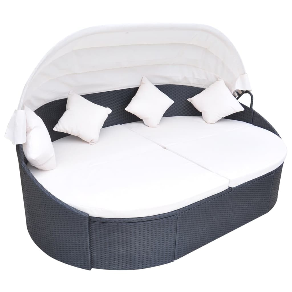Outdoor Lounge Bed with Canopy Poly Rattan Black