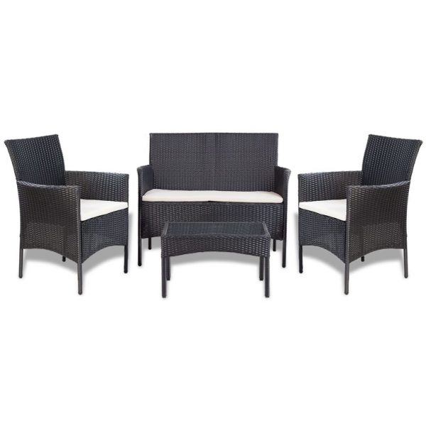 4 Piece Garden lounge Set with Cushions Poly Rattan Black 2