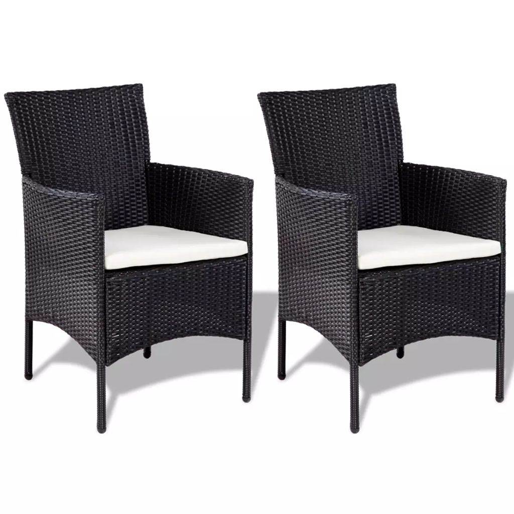 4 Piece Garden lounge Set with Cushions Poly Rattan Black 5