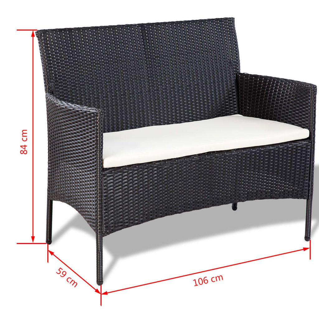 4 Piece Garden lounge Set with Cushions Poly Rattan Black 9