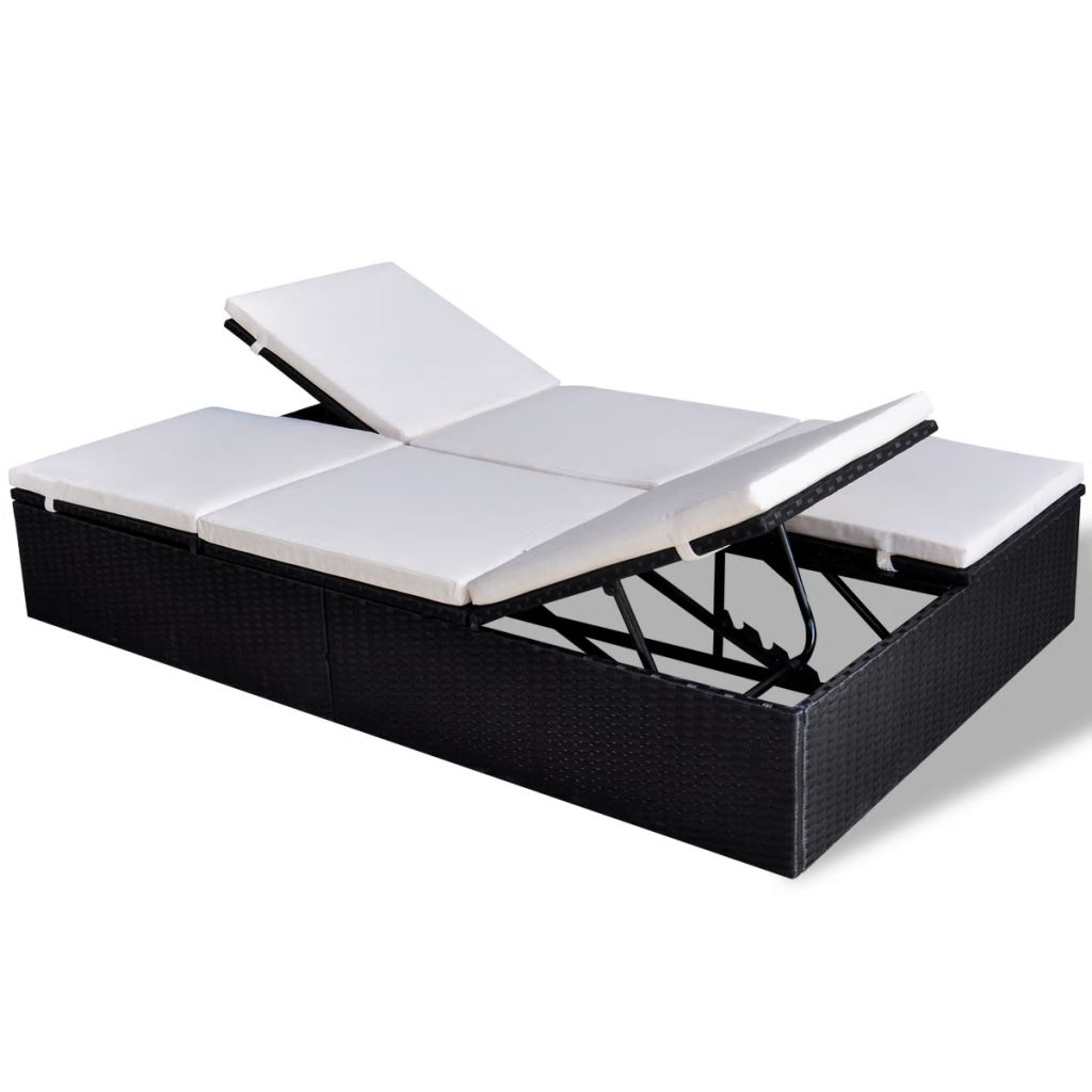 Double Sun Lounger with Cushion Poly Rattan Black 2