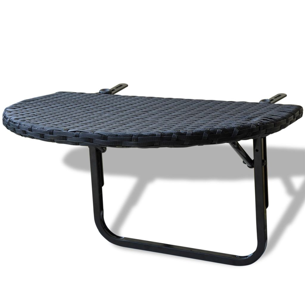 Balcony Table 60x60x32 cm Black Poly Rattan 1