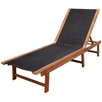 Sun Lounger Solid Acacia Wood and Textilene 1