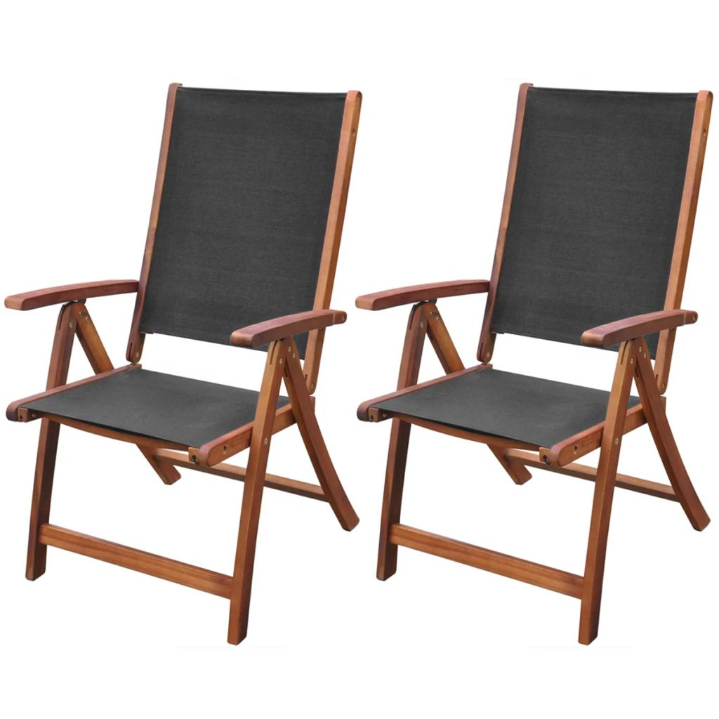 Folding Garden Chairs 2 pcs Solid Acacia Wood and Textilene 1