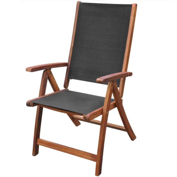 Folding Garden Chairs 2 pcs Solid Acacia Wood and Textilene 2