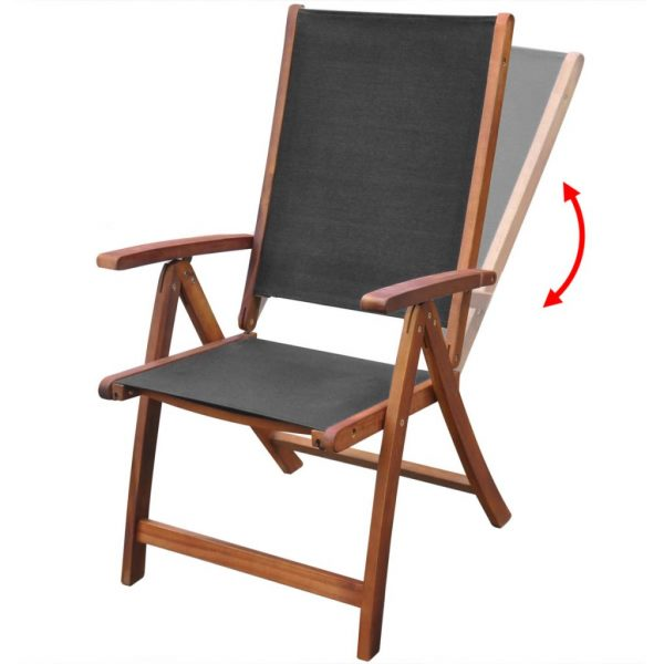 Folding Garden Chairs 2 pcs Solid Acacia Wood and Textilene 3