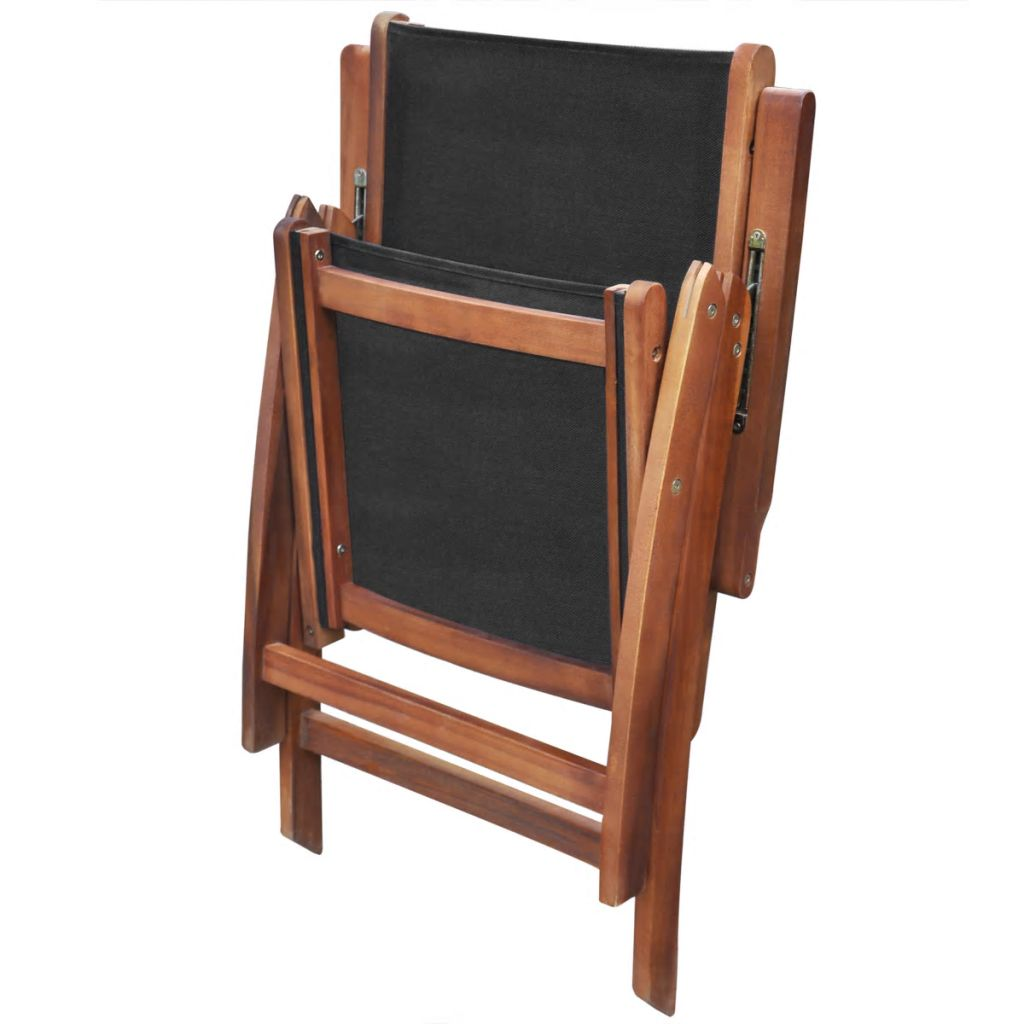 Folding Garden Chairs 2 pcs Solid Acacia Wood and Textilene 4