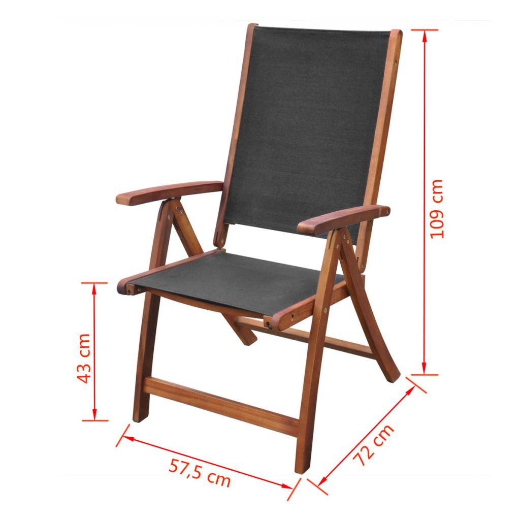 Folding Garden Chairs 2 pcs Solid Acacia Wood and Textilene 5