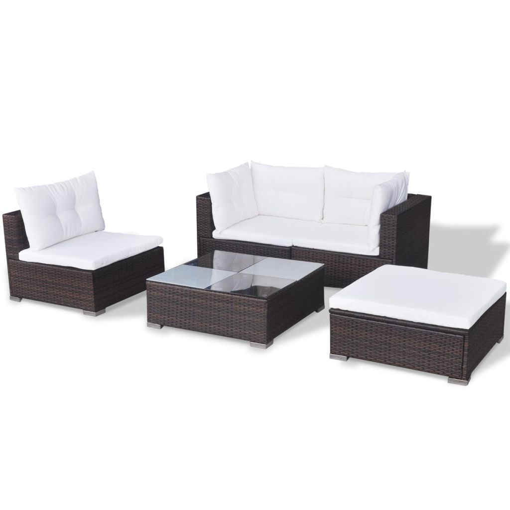 5 Piece Garden Lounge Set with Cushions Poly Rattan Brown 5