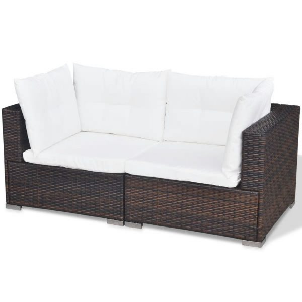5 Piece Garden Lounge Set with Cushions Poly Rattan Brown 8
