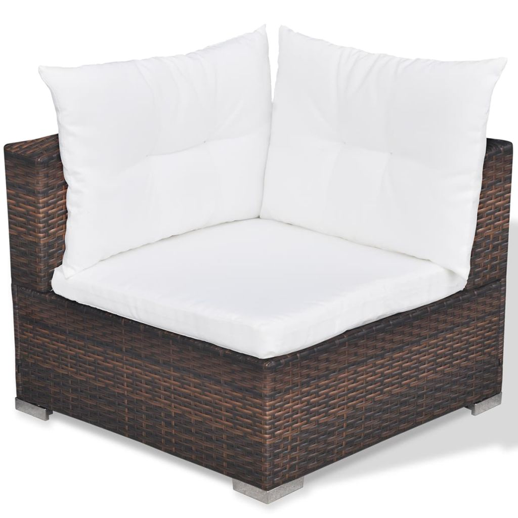 5 Piece Garden Lounge Set with Cushions Poly Rattan Brown 9
