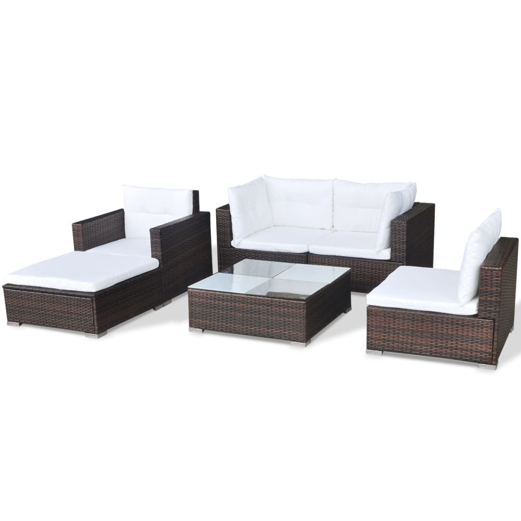 6 Piece Garden Lounge Set with Cushions Poly Rattan Brown 6
