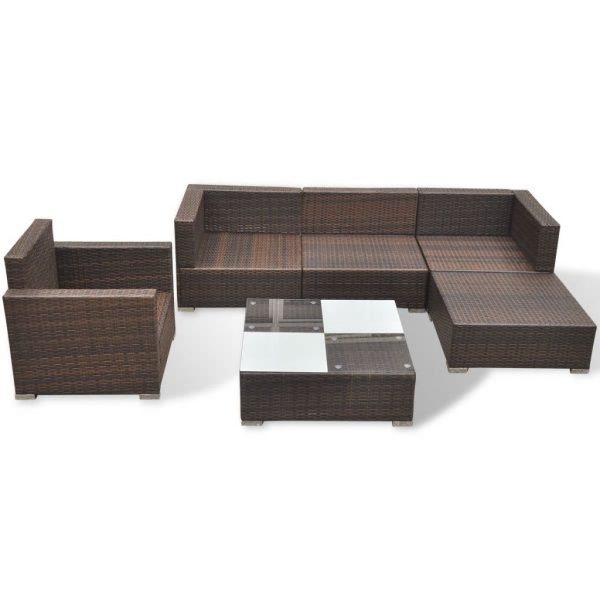6 Piece Garden Lounge Set with Cushions Poly Rattan Brown 7