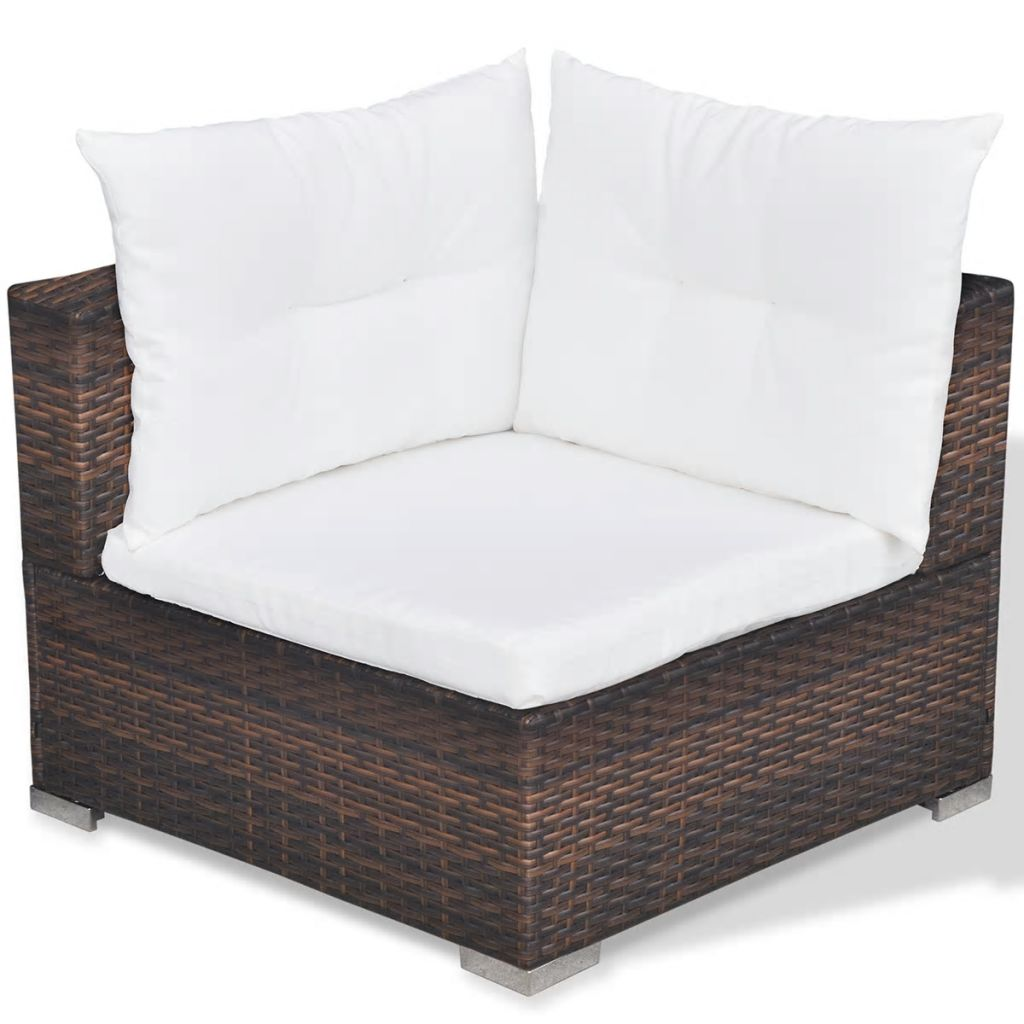 6 Piece Garden Lounge Set with Cushions Poly Rattan Brown 9