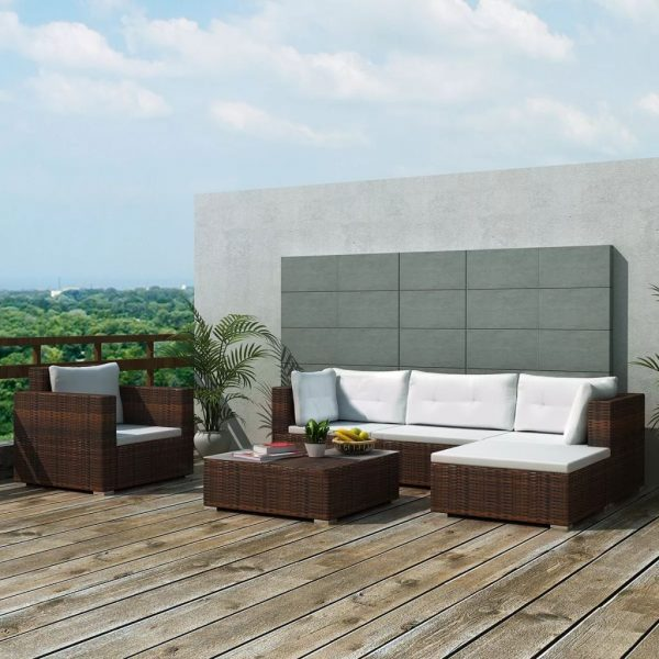 6 Piece Garden Lounge Set with Cushions Poly Rattan Brown 1