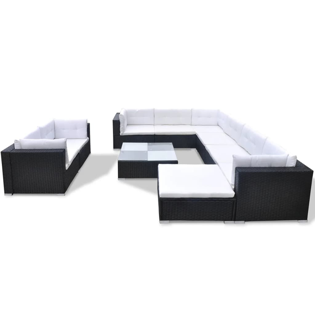 10 Piece Garden Lounge Set with Cushions Poly Rattan Black 2