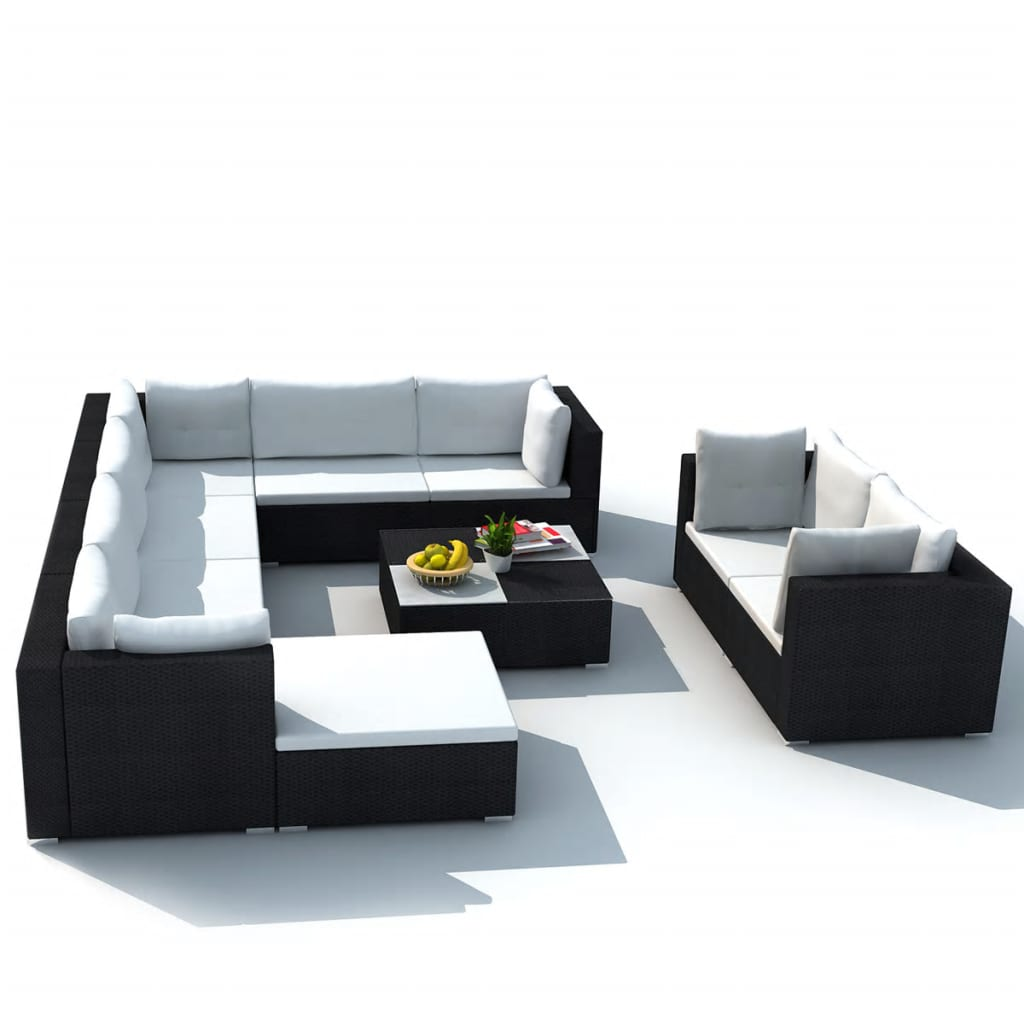 10 Piece Garden Lounge Set with Cushions Poly Rattan Black 3