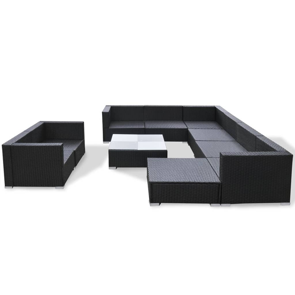 10 Piece Garden Lounge Set with Cushions Poly Rattan Black 5