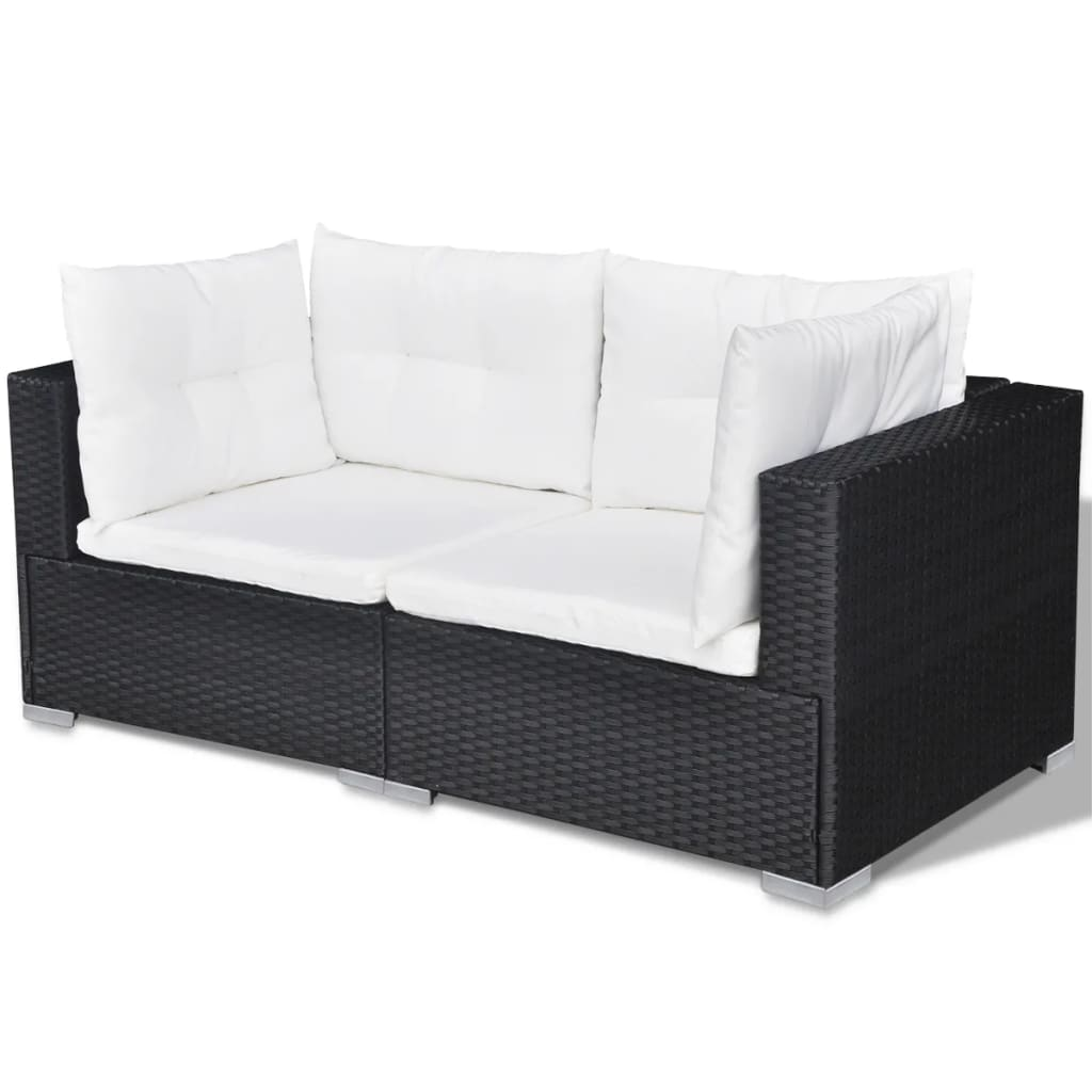 10 Piece Garden Lounge Set with Cushions Poly Rattan Black 6
