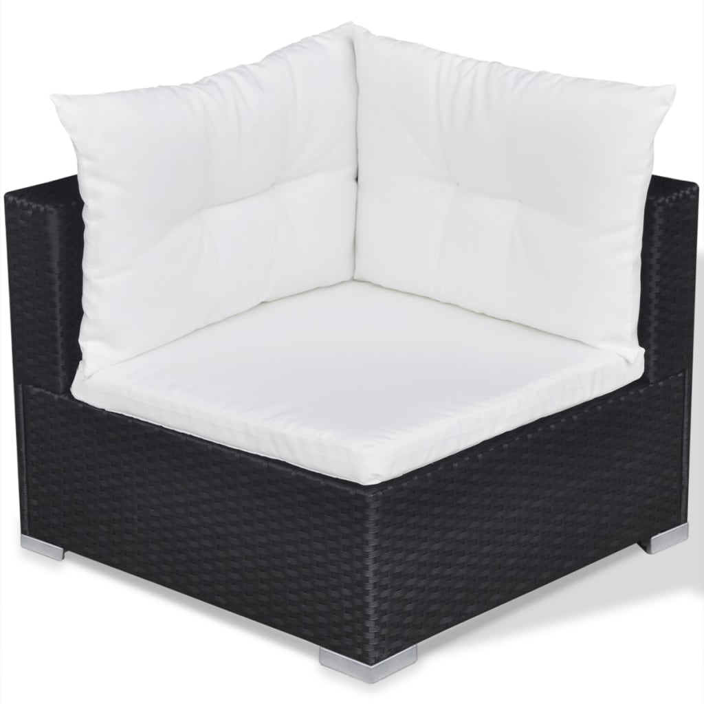10 Piece Garden Lounge Set with Cushions Poly Rattan Black 7