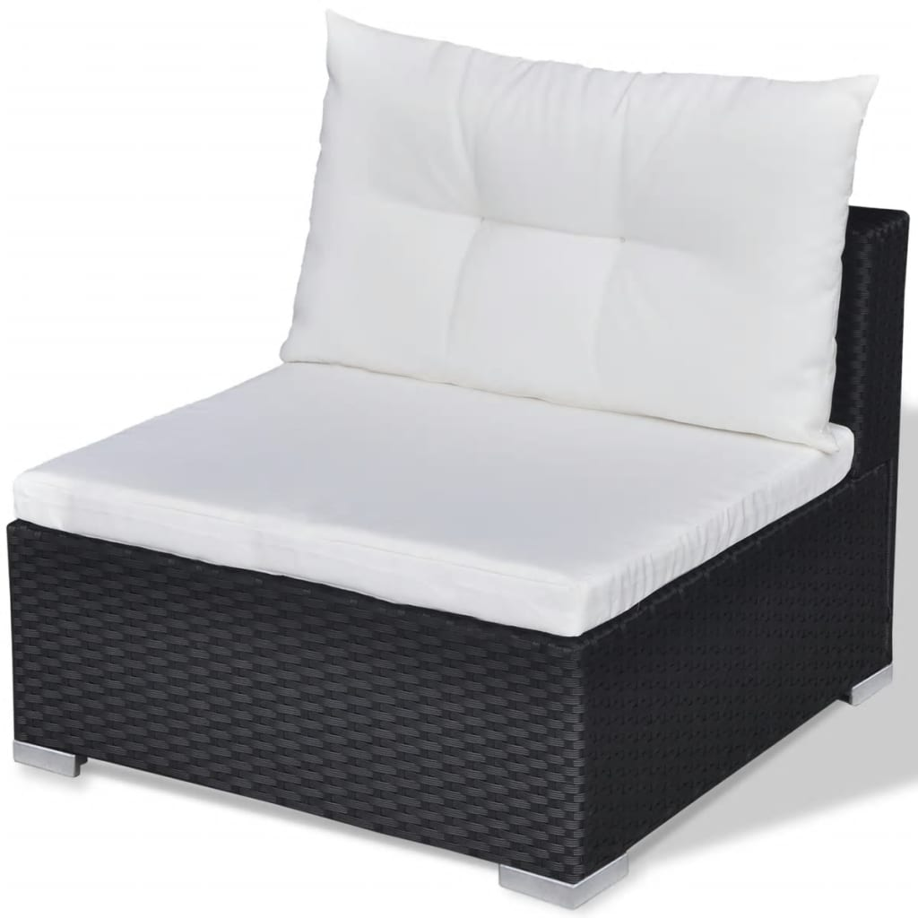 10 Piece Garden Lounge Set with Cushions Poly Rattan Black 8
