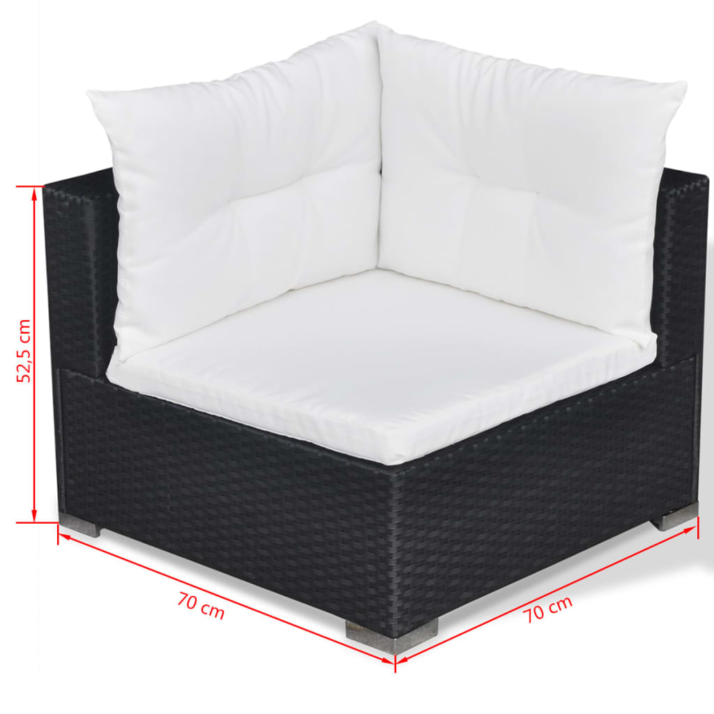 10 Piece Garden Lounge Set with Cushions Poly Rattan Black 11