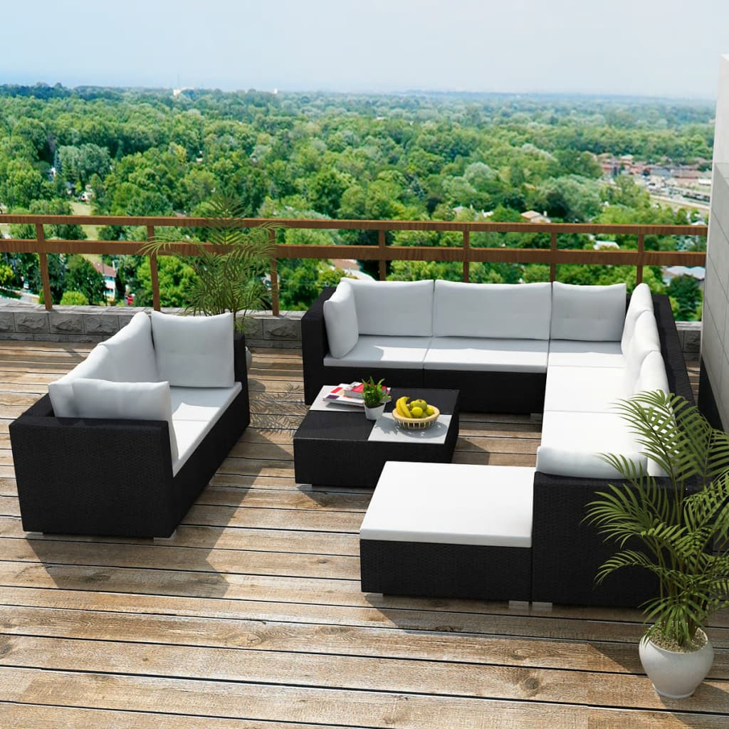 10 Piece Garden Lounge Set with Cushions Poly Rattan Black 1