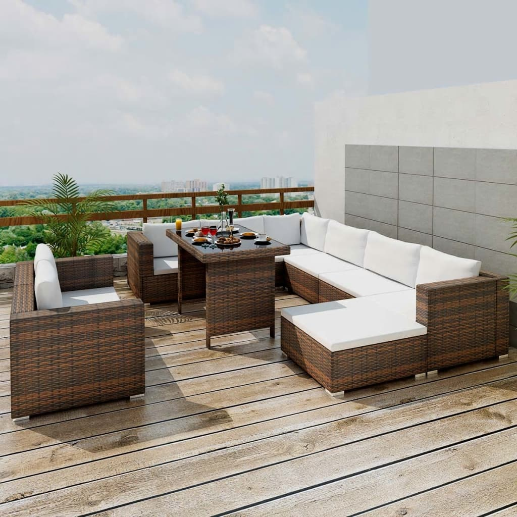 10 Piece Garden Lounge Set with Cushions Poly Rattan Brown 1