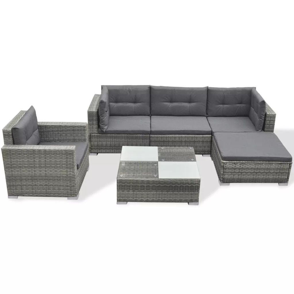 6 Piece Garden Lounge Set with Cushions Poly Rattan Grey 2