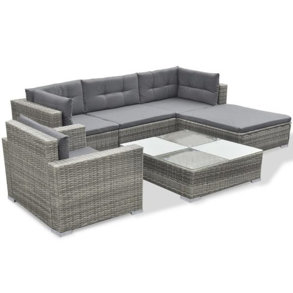 6 Piece Garden Lounge Set with Cushions Poly Rattan Grey 3
