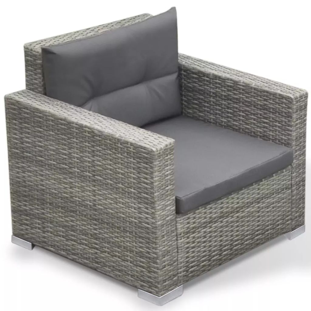 6 Piece Garden Lounge Set with Cushions Poly Rattan Grey 6
