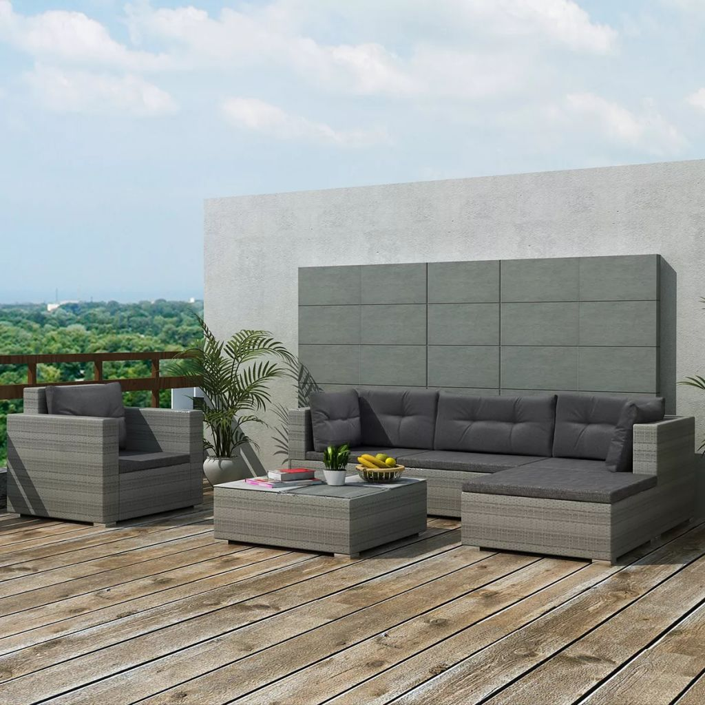 6 Piece Garden Lounge Set with Cushions Poly Rattan Grey 1