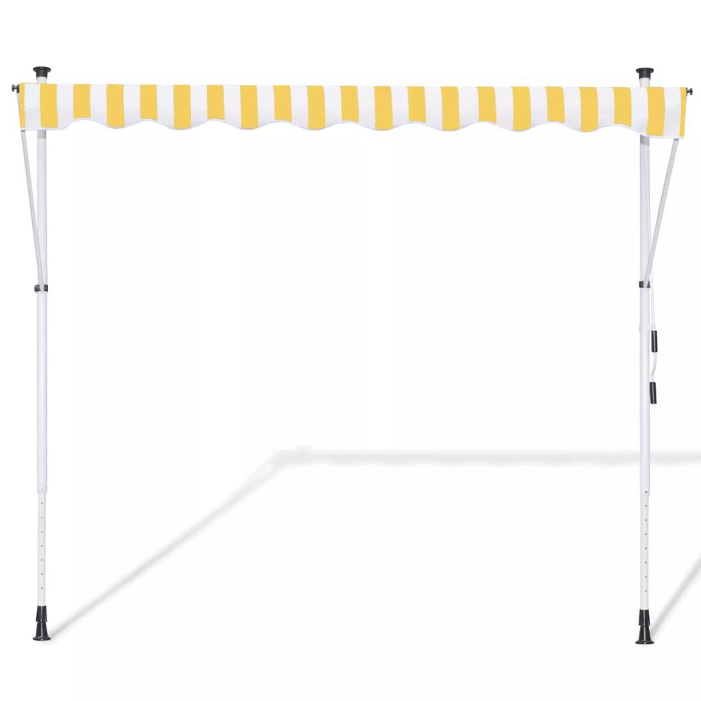Manual Retractable Awning Yellow & White 350 cm 3