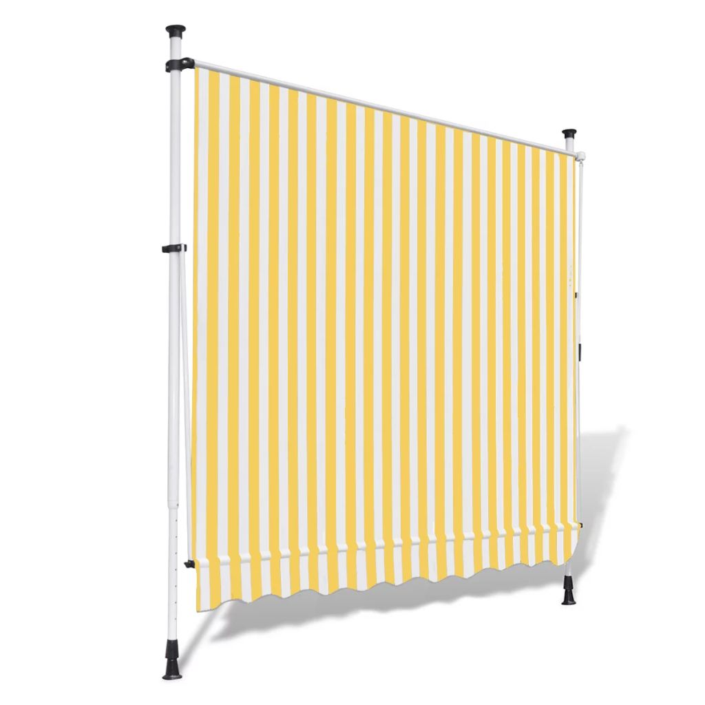 Manual Retractable Awning Yellow & White 350 cm 5