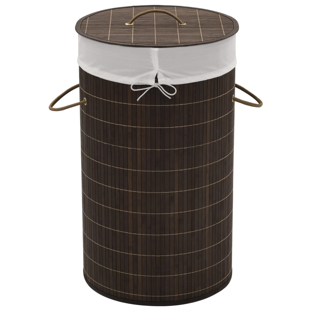 Bamboo Laundry Bin Round Dark Brown 1