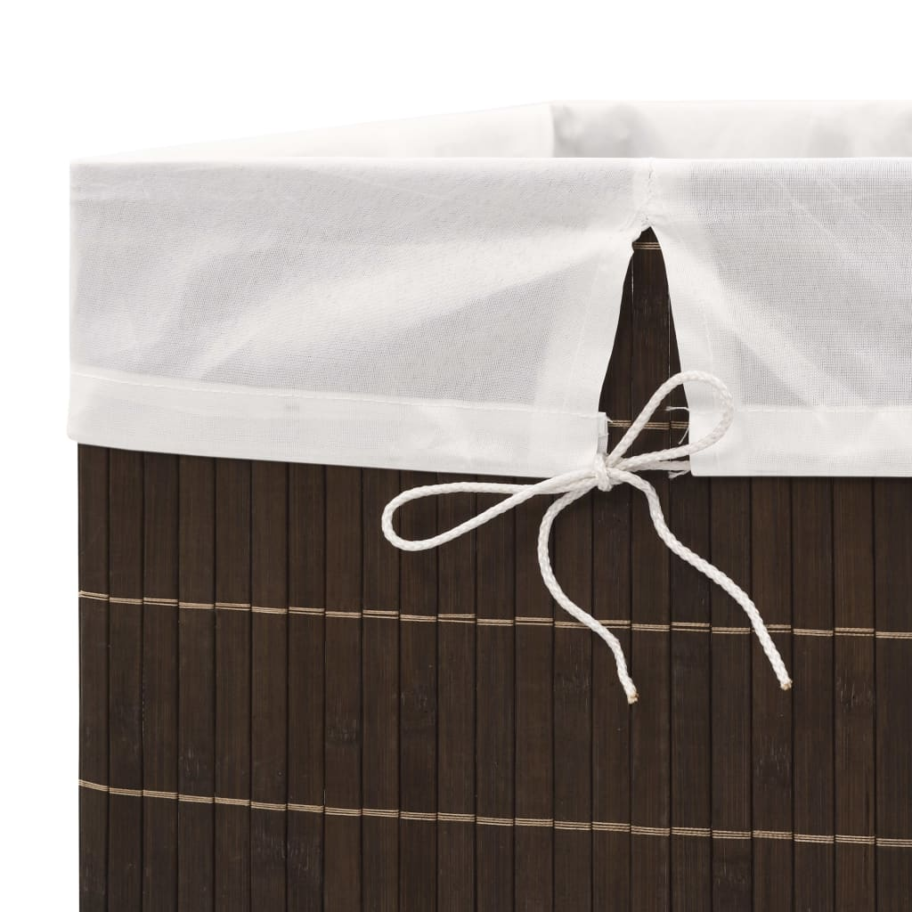 Bamboo Laundry Bin Rectangular Dark Brown 4