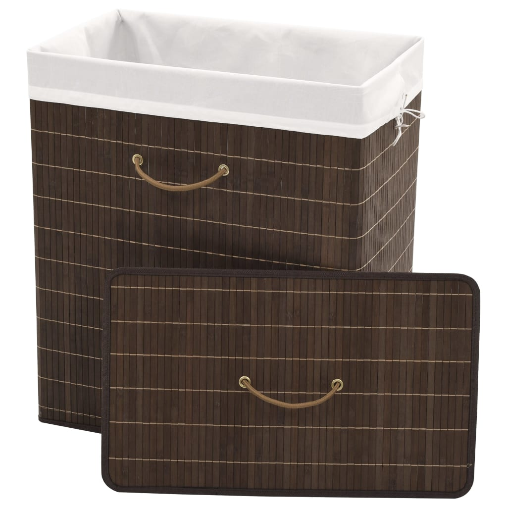 Bamboo Laundry Bin Rectangular Dark Brown 5