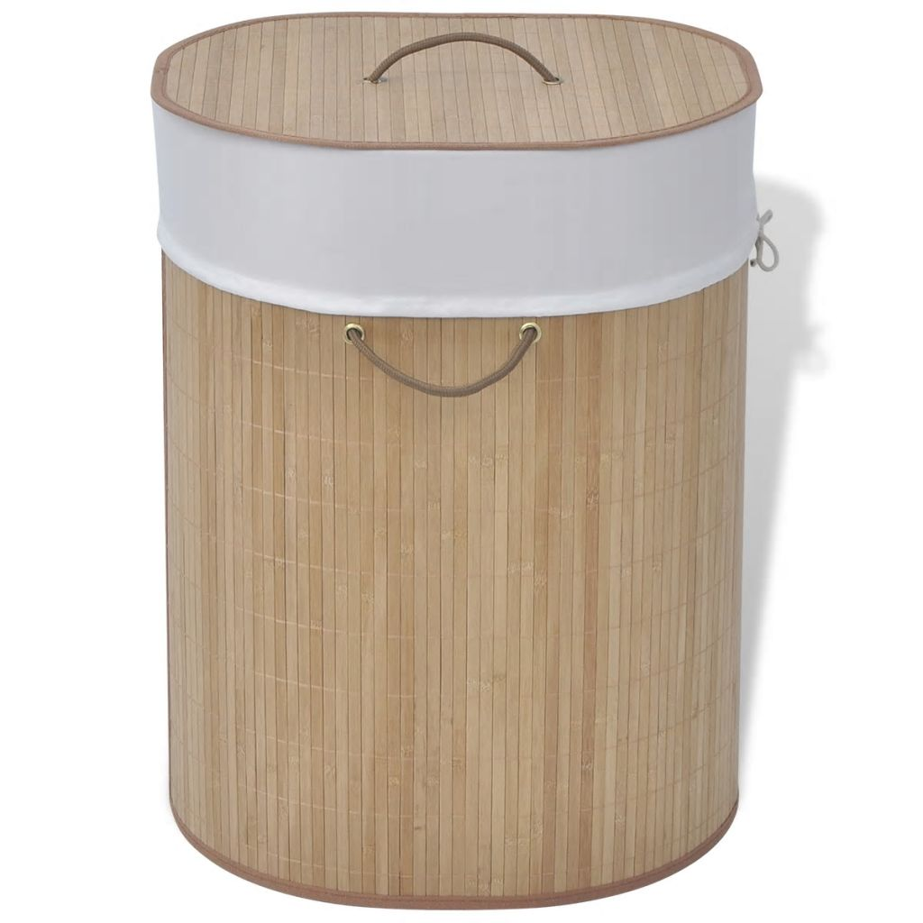 Bamboo Laundry Bin Oval Natural 1
